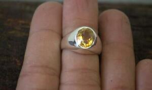 Natural Citrine Ring 925 Solid Sterling Silver ring for Mens Citrine Gemstone
