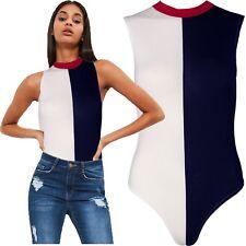 Ladies Sleeveless Colour Block Contrast Bodysuit Leotard Top Stretch Round Neck