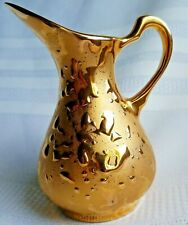 Weeping Gold Pottery Pitcher, 22 KT Gold, Art Deco USA