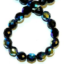 """CZ515 Jet Black AB 10mm Fire-Polished Faceted Round Czech Glass Beads 16"""""""