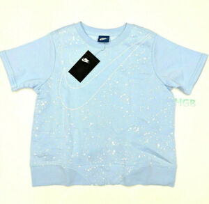 Nike Crewneck Wrap Back Short Sleeve Sweatshirt Girls Blue 890544-415 NWT