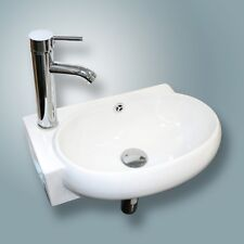 New Wall Mount White Porcelain Ceramic Vessel Sink Bathroom Vanity Combo Bath US