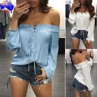 Fashion Women's Long Sleeve Slash Neck Casual Off Shoulder Blouse T-shirt Tops