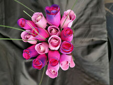 Roses Bouquet Wooden Flowers Wood Artificial Birthday Lilac, Pink Purple