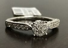Size 8 Halo Flower Vintage Antique Style 10k White Gold Diamonds Engagement Ring