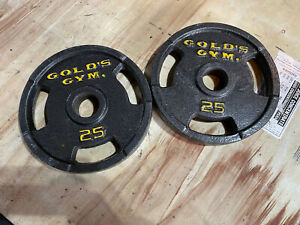 """VINTAGE 25 Lb Golds Gym 2"""" Olympic Grip Weight Plates Set Of 2 - 50 lb Total"""