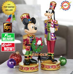 Disney Christmas Mickey And Goofy Nutcracker Musical Light Up Decorations.