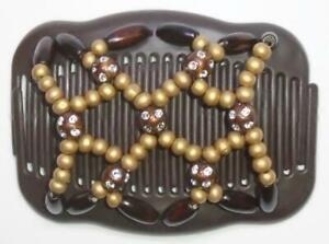 """Angel Wings Hair Clips 4x3.5"""", African Butterfly, Double Combs BROWN S20"""