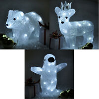 Christmas Crystal Reindeer Penguin Polar Bear LED Light Up Standing Decoration