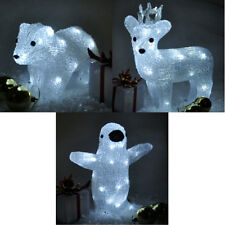 christmas crystal reindeer penguin polar bear led light up standing decoration