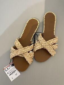 BNWT Zara Size 4 Slider Flat Sandals Beige Straw