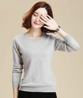 O-Neck Cashmere Sweater Women Solid Color Long Sleeve Soft Knitted Pullover