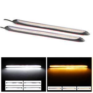 2x  Car Waterproof LED Sequential Daytime Running Light Turn Signal DRL Strip