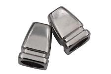 moderne Kordel Enden Metall Silber glänzend eckig Länge 14mm 2 Stück