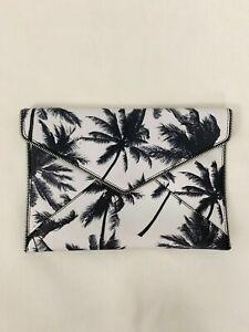Rebecca Minkoff Palm Foldover Envelope Clutch Black White Leather