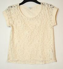 IVORY LADIES CASUAL TOP BLOUSE LACE FLORAL SIZE 8 NEW LOOK