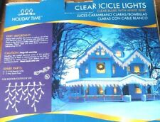 Holiday Time Clear Bulb White Wire Icicle Christmas Lights 300ct 18ft