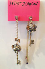 NWT Betsey Johnson Mismatch Vintage Gold Key and Bow Jewels crystals earrings