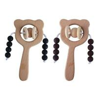 Baby Beech Teether Bell Rattle Silicone Beads Soother Molar Toddler Teething Toy