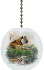 Tiger on Grassy Bank Watercolor Animal Solid CERAMIC Ceiling Fan Light Lamp Pull