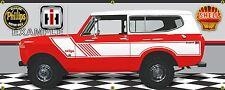 1974 INTERNATIONAL SCOUT II RALLYE RED/WHITE GARAGE SCENE BANNER SIGN ART 2'X5'