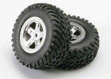 Traxxas Mounted SS Black Chrome Wheels /& Maxx Tires T//E-Maxx 4983A TRA4983A