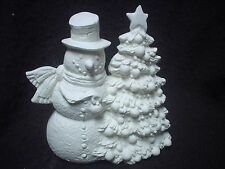 "E152 - Ceramic Bisque 5"" Snowman with Christmas Tree - Ready to Paint"
