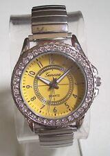 Women's stretch band Silver finish Yellow dial rhinestone fashion Watch
