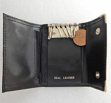 Real leather key holder pouch wallet for 6 keys black