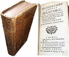 Dictionnaire de la FABLE par CHOMPRÉ, reliure d'époque, 1776. Voir description