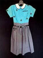 COLLECTORS RARE 1950'S DEADSTOCK NEVER WORN NEW COTTON PRINT GIRLS DRESS SIZE 10