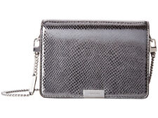 f07909218822 NWT$248 Michael Kors JADE Medium Gusset Metallic Leather Crossbody Pewter  Silver