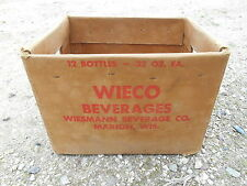Old Vintage Box Crate Wieco Beverages Wiesmann Marion Wisconsin Soda Pop Bottles