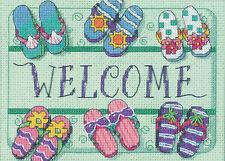 Cross Stitch Kit Dimensions Welcome Mat Beach Sandals Flip Flops #6978 Oop Sale!