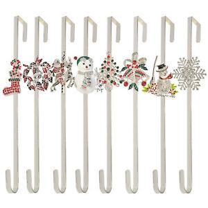 """Silver Crystal Christmas Wreath Door Hanger Metal Door Hook Decoration 38cm 15"""""""