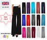 NEW LADIES PLUS SIZE PLAIN PALAZZO TROUSERS WOMENS FLARED WIDE LEG PANTS