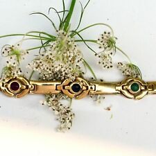 14k Yellow Gold Estate Cabochon Sapphire Emerald & Ruby Bracelet 7""