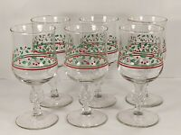 Vintage Arby's Holiday Holly Berry Bow Stem Wine Glasses - 12 oz - Set of 6