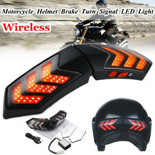 Wireless Motorcycle Helmet LED Smart Running Indicator Brake Turn Signal Light