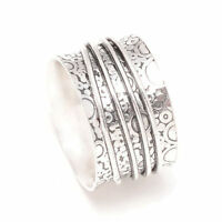 925 Sterling Silver Wide Band Meditation Spinner Ring All Size Handmade UK-436