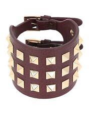 Valentino Garavani Pop Rockstud Leather Wide Double Bracelet Cocoa
