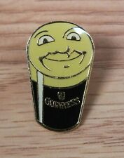 "Face Draft Beer Cup Pin *Read* Genuine Guinness 1"" (Inch) Gold Tone Smiley"