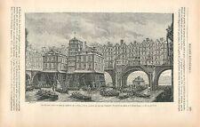 La Joute des mariniers pont Notre-Dame et le Pont-au-change GRAVURE PRINT 1878