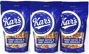 (3) Kar's Peanut Butter N Dark Chocolate Gluten Free Trail Mix 18 Oz BB 02/22