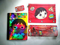 Ryan's World: Pencils Toppers Toy Composition Book & Binder Pouch School Lot