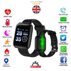 Bluetooth Smart Watch Heart Rate Blood Pressure Fitness Sports Gym iOS Android