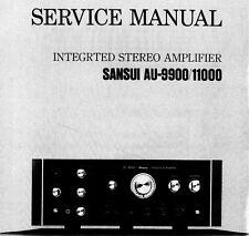 SANSUI AU-9900 AU-1100 Stéréo intégrés service Amp Manuel Inc SCMS Imprimé ENG