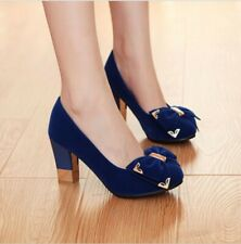 womens sweet classical round toe mid heel shoes comfort party dress shoes blue 7