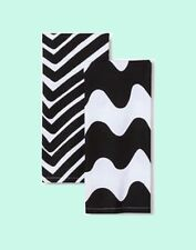 Marimekko Kitchen Dish Bar Towel 2 NEW Black White Lokki Traktori Geometric Wavy