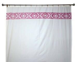 Threshold Fabric Deep Pink Embroidered Shower Curtain Nwot